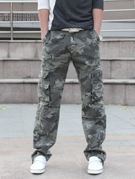 Wholesale Mens Camouflage Combat Trousers - Wholesale-Baggy Army Camouflage Pants Outdoor Paintball Tactical Trousers Military Multi-Pocket Mens Pants Combat Army Camouflage Pants