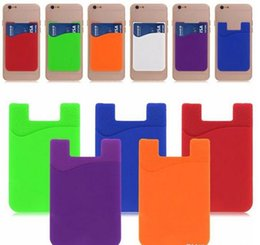 Wholesale Slim Smartphones - Ultra-slim Self Adhesive Credit Card Wallet Card Set Card Holder for Smartphones for iPhone 7 Colorful Silicone DHL free
