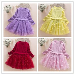 Wholesale Korea Fashion Winter Dress - 2016 fashion spring autumn baby skirt Korea style dress long sleeve girls knitted skirt children Pompon core-spun yarn of wool line A00001