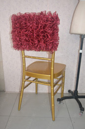 Cadeira de casamento sashes borgonha on-line-2016 Custom Made Borgonha Organza Ruffles Cadeira Cobre Romântico Bonito Cadeira Sashes Barato Cadeira de Casamento Decorações 021