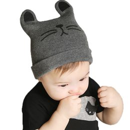Wholesale Boys Winter Caps Hats - 2017 Autumn Winter 0-12months Baby Cute Ear Hat Cotton Beanie Cap Toddler Infant Baby Girls and Boys Knitted Hats Kids Hats & Caps