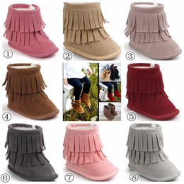 Wholesale Fabric Fringes - 2017 Fashion Baby 2Layer Fringe Style Boots Dark Long Tassel Design Baby Shoes Soft Sole Non-slip Infant Toddles Winter Snow Boots