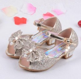 Wholesale Sandals For Girls Dress - Enfants 2016 Children Princess Sandals Kids Girls Wedding Shoes High Heels Dress Shoes Party Shoes For Girls Pink Blue Gold HJIA439