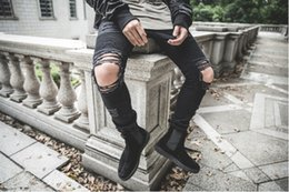 Wholesale Hiphop Fashion Stripe - Fashion Mens Straight Slim Fit Biker Jeans Pants Distressed Skinny Ripped Destroyed Denim Jeans Washed Hiphop Trousers Black