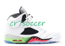 "Wholesale Gold Star Discounts - Wholesale 5 retro ""pro stars"" Men Basketball Shoes Cheap retro 5s Athletics sneakers discount retro V Colorway:wht infrrd 23-lt psn grn-blck"