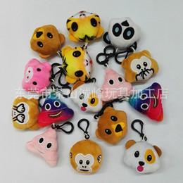 Mobile hundespielzeug online-5,5 cm Affe Liebe Schwein Pooh Hund Panda Emoji Plüsch Schlüsselbund Emoji Plüsch Puppe Spielzeug Schlüsselring für mobile Anhänger