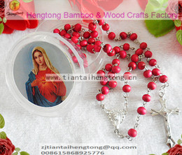 Wholesale Rosary Saints - Wholesale- free ship 9pcs pack perfume rose scented rosary necklace  pink bead rosary with virgin mary center and plastic saint box