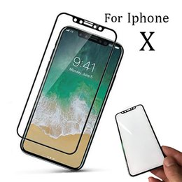 Wholesale Iphone Hard Screen Protector - Top hard edge For iPhone X 8Plus 3D Full Cover Tempered Glass Screen Protector for iPhone 5 6 7 plus with Box Package