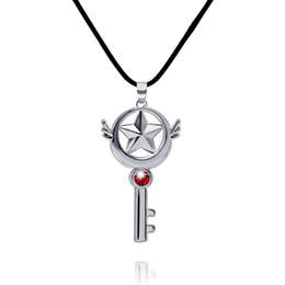 Wholesale Wand Charms - Cardcaptor Sakura Magic Wand Small Can Sign Cardcaptor Sakura Alloy with Diamond Key Necklace Pentagram