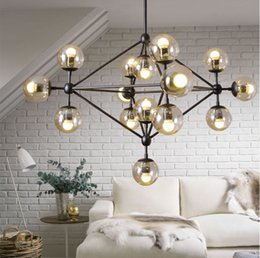 Wholesale Glass Edison Pendant - Modo Bean Chandelier Edison Industrial Pendant Lights Glass Ball Loft Ceiling Lamps Lighting Fixtures with 5 10 15 Heads