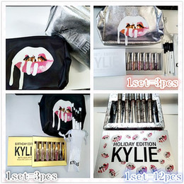 Wholesale Make Up Bag Sets - Kylie Birthday Holiday Edition 6pcs set Matte Liquid Lipsticks +Sliver Black Kylie Jenner Make Up Bag +5pcs set Brush kylie 12pcs lipstick