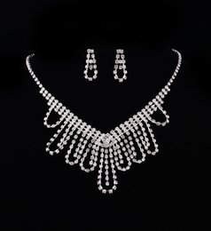Wholesale Cheap Heart Necklaces Women - Women Fashion Bridal Rhinestone Crystal Drop Necklace Earring Plated Jewelry Set Wedding Cheap Free Shipping 2017 Hot new style