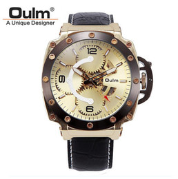 dropshipping mens gold watch straps uk uk delivery on mens genuine oulm 3479 mens watches large dial mechanical watches erkek high quality leather strap gold skeleton watch male dourado silver dropshipping uk