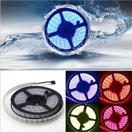 Wholesale Double Led Strip 12v - LED RGB Strips Double Row 5M 5050SMD 600LEDs RGB LED Strip light 5M Led Flexible Tape Lights + 44Key IR Remote + 5A Power