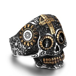 Wholesale Wholesale Biker Rings Free Shipping - Fashion Jewelry Biker Mens Gothic Skull Stainless Steel Ring, gold, Black Silver US Size 7-14 Drop Free Shipping