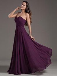Wholesale Empire Bridesmaids Dresses - New Hot Bridesmaid Dresses With 2016 Popular Style Purple Empire Bridesmaid Dresses Sweetheart Pageant Party po45
