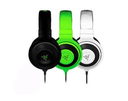 Wholesale Most White Green - High Quality 3.5mm Razer Kraken Pro Gaming Headset with Wire control headphones in BOX for IOS Android system most popular