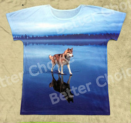 Wholesale Vintage Lake - Wholesale- Track Ship+New Vintage Retro T-shirt Top Tee Grey Husky Dog Walking on Beautiful Blue Salt Lake with Reflection 0589