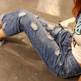 Wholesale Torn Jeans Women Plus Size - Wholesale- 2017 Vintage Summer Boyfriend Jeans Women Fashion Cuffs Ripped Torn Denim Jeans For Women Sexy Pants Female Plus Size XXXXXL