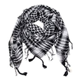 Wholesale Shemagh Tactical Desert Scarf - 100% Cotton Thick Arab Scarves Muslim Hijab Shemagh Tactical Desert Men Winter Military Windproof Scarf 2018 Hot Sale