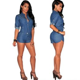 Wholesale New Club Bodysuits - New New fashion women sexy club skinny denim rompers hot shorts adjustable waist solid blue bodysuits casual womens jumpsuits TM528