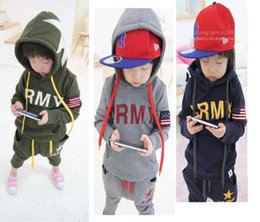 Wholesale usa sports clothing - New 2016 USA ARMY Boys Clothing Sets Long Sleeve Hoodies + Pants 2PCS Sets Kids Sport Suits For Spring Autumn