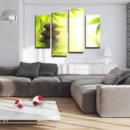 Wholesale Bamboo Canvas Art - 4 Picture Combination Canvas Prints Wall Art Stone Bamboo Canvas Print Stone, Bamboo Photo Canvas Art for Home Wall Decoration