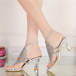 Wholesale open toe sandals for women - 2016 Women Summer Sandals High Quality Silver Rhinestone Bridal Dress Sandals For Summer Open Toe Sparkling Wedidng Party Shoes