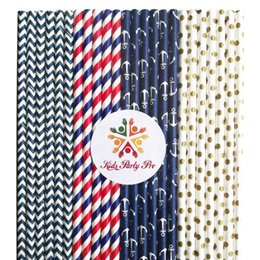 Wholesale Navy Striped Straws - 200pcs Mixed 4 Designs Navy Red Gold Themed Paper Straws-Striped,Chevron,Swiss Dot,Anchor Nautical Birthday Party Wedding Bulk