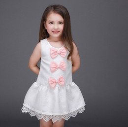 Wholesale Girls Childrens Clothes - 2016 Princess Big Girls Clothes Lace Hem 3 Bowknot Dresses Childrens Sleeveless Kids Clothing New Party Beautiful Dress KB463