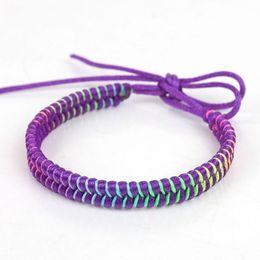 Wholesale Handmade Braided Cord - Rainbow Waxed Knitted Bracelets Cords Braided Hemp Rope Woven Handmade Friendship Bracelets for Best Friends