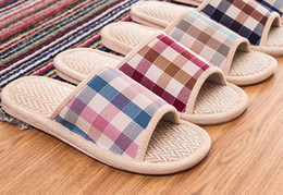 Wholesale Wholesale Flax Linen Fabric - Free shipping DHL EMS wholesale lovers flax floor men women anti skid linen floor slippers home flip-flops shoes babouche 100pairs lot