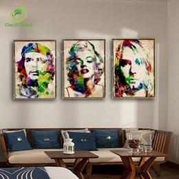 marilyn monroe retrato pintura Rebajas 3 Panel Resumen Retrato Marilyn Monroe Pop Art Pintura Cartel Cuadros Lienzo Imagen de Pared Para la Sala Sin Marco
