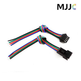 Wholesale Rgb Connector Cable - 10Sets JST Male Female LED Connectors with 15cm 4Pin 22AWG RGB Cable Wire on One Side for 3528 5050 RGB LED Light Strips