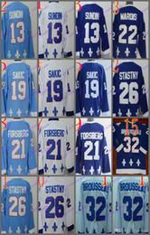 Wholesale Hockey 13 - Cord Quebec Nordiques #19 Joe Sakic 21 Forsberg 26 Stastny 13 Sundin 32 BROUSSEAU White Drak Light Blue Hockey Jersey Stitched Mix Order