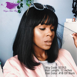 Wholesale Dark Brown Bangs - Short bob Human Hair Wigs With Bangs Brazilian Full Lace Human Hair Wigs For Black Women Human Hair Lace Front Wig