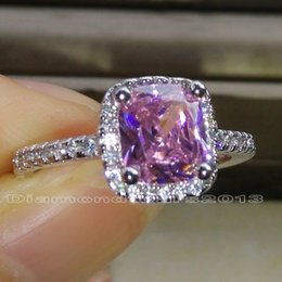 Wholesale Ring Pink Topaz - 2ct Size 5 6 7 8 9 10 Jewelry 925 silver filled Pink topaz Wedding Women Ring