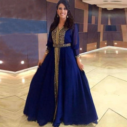 Wholesale Chiffon Party Dress For Women - Muslim Arabic Moroccan Evening Dresses Party Elegant for Women Celebrity Long Sleeve Royal Blue Chiffon Dubai Caftans Formal Prom Gowns 2018