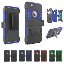 Wholesale Iphone Holder Belt Clip - Hybrid Armor Cases For iPhone 7 Shockproof Belt Clip Kickstand Card Holder Case for iPhone 5 5S 5SE 6 6S Plus Samsung Galaxy Note 7 S7 Edge