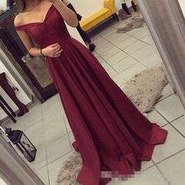 Wholesale Long Inexpensive Gowns - Modest Off the Shoulder Sleeveless Burgundy A Line Prom Dresses 2018 Satin Evening Party Gown Inexpensive Formal Wear Made to Order