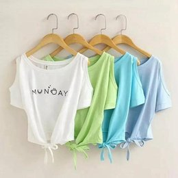 Wholesale Elegant Womens Cotton Tops - Fashion Summer 2016 womens Elegant Letter Shoulder Off print Crop Top Casual short Sleeve O neck shirt Loose T-shirt