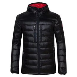 Wholesale Mens Jackets Canada - 2018. Classic Brand canada Men Winter Outdoor white Duck Down Jacket man casual hooded Down Coat outerwear mens warm jackets Parkas 200