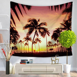 Wholesale sunset sea - beautiful scenic wall art hawaii beach palm tapestry sea sunset hanging decor for home office cafe