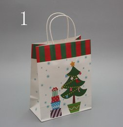 Wholesale Kraft Stocks - DHL & SF_EXPRSS christmas Kraft Paper Bags 2 size option Christmas Festival candy Packing bags in stock