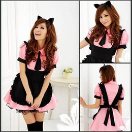 Wholesale Maid Uniform Cosplay - Wholesale-New High-grade Maid Cosplay Costumes Uniform Temptation Halloween Masquerade Resturant Waitress Blue and Pink Disfraces CK151272