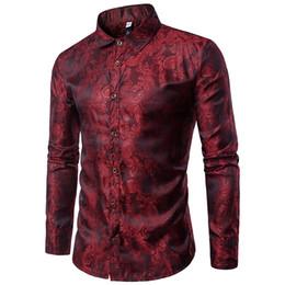 Wholesale Bright Purple Shirt - Bright Silk Shirts Men 2017 Autumn Long Sleeve Casual Cotton Flower Shirts for Men Designer Slim Fit Dress Shirts
