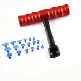 Wholesale Pdr Glue Puller Kit - PDR Tools Kit Paintless Dent Repair Tools Dent Removal Mini Lifter Dent Puller Small Red T-Bar Puller Glue Tabs Suction Cups