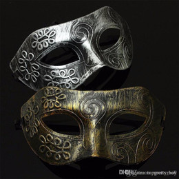 Wholesale Gold Masquerade Ball Masks Wholesale - Retro Men halloween Burnished Antique Silver Gold Venetian Mardi Gras Masquerade Party Ball Mask Jazz Mens Mask Halloween Masquerade Masks