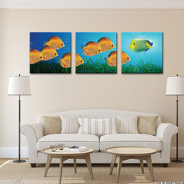 Wholesale Oil Painting Fish - Three Picture Combination Colorful Fish Paintings Custom Oil Paintings Gold Fish Paintings Wall art for Sale