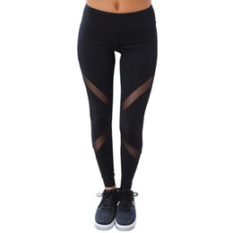 Wholesale Wholesale Women S Workout Clothes - Wholesale- High Waist Fitness Women Legging Casual Mesh Transparent Patchwork Women Workout Clothes Fitness Pants Ropa Deporte Mujer#121
